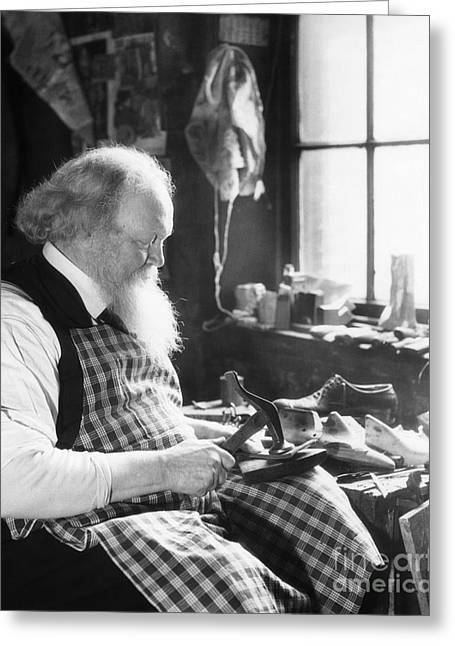 Elderly Cobbler At Work, C.1920-30s Greeting Card