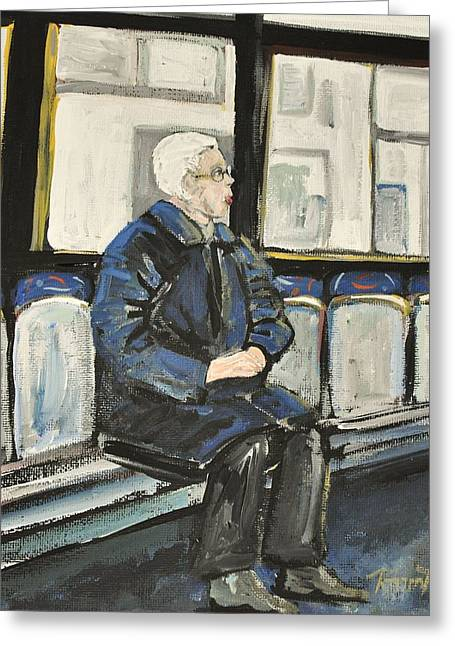 Streets Of Montreal Greeting Cards - Elderly Lady on 107 Bus Montreal Greeting Card by Reb Frost