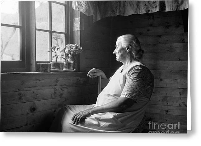 Elderly Woman At Window, C.1950s Greeting Card by H. Armstrong Roberts/ClassicStock