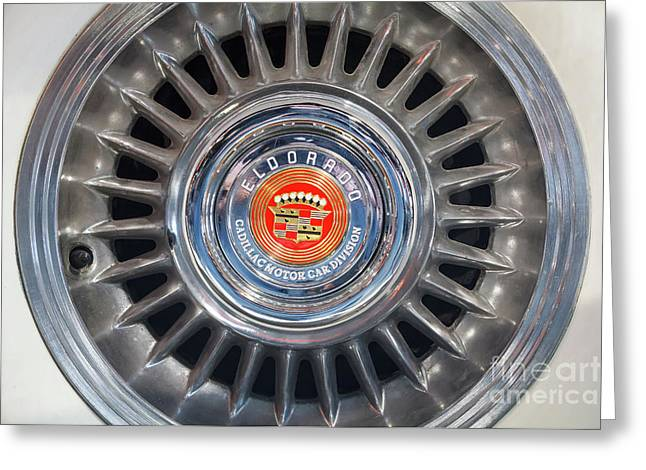Greeting Card featuring the photograph Eldorado Hubcap by Dennis Hedberg