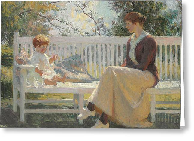 Eleanor And Benny Greeting Card by Frank Weston Benson