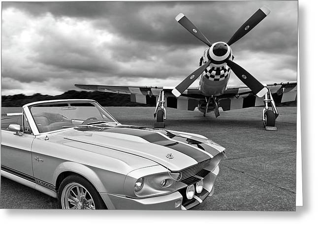 Eleanor Mustang With P51 Black And White Greeting Card
