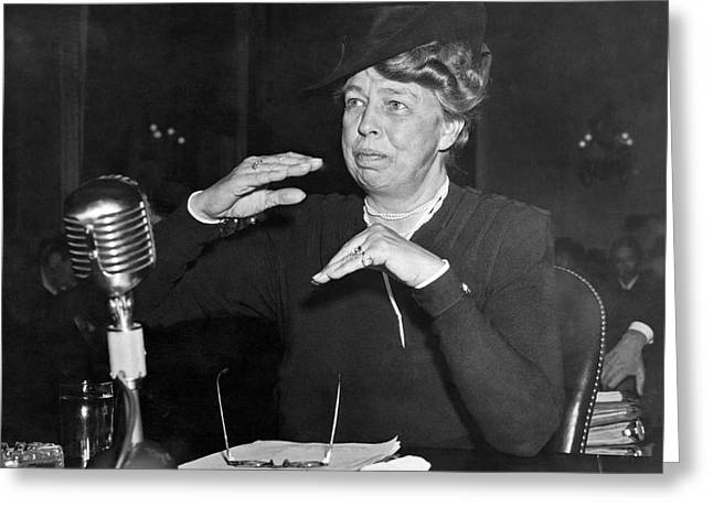 Eleanor Roosevelt At Hearing Greeting Card by Underwood Archives