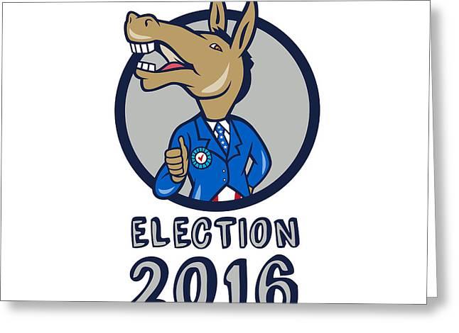 Election 2016 Democrat Donkey Mascot Circle Cartoon Greeting Card by Aloysius Patrimonio