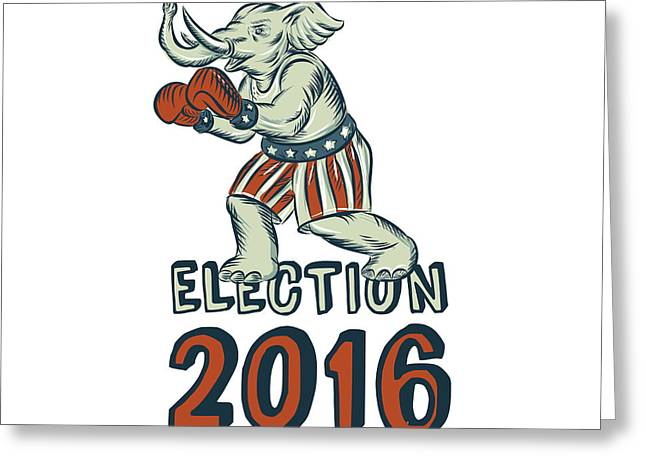 Election 2016 Republican Elephant Boxer Etching Greeting Card