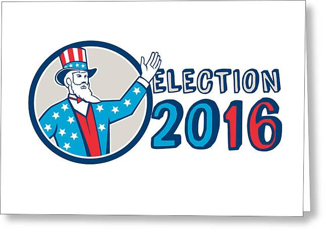 Election 2016 Uncle Sam Hand Up Circle Retro Greeting Card