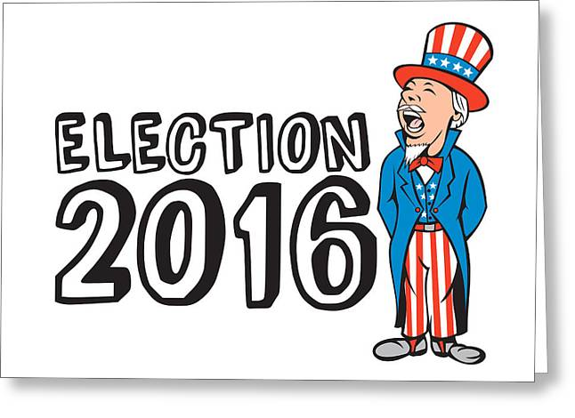 Election 2016 Uncle Sam Shouting Retro Greeting Card