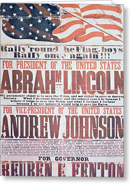Electoral Campaign Poster For Abraham Lincoln, 1864 Greeting Card by American School