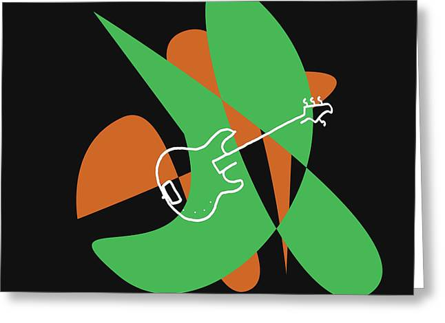 Electric Bass In Green Greeting Card