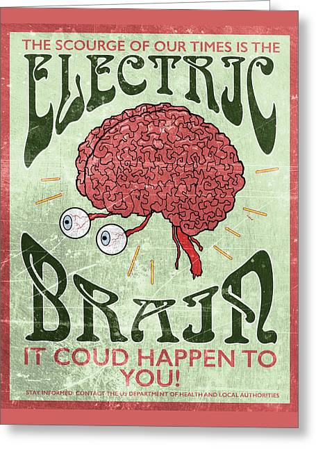 Electric Brain Greeting Card by H James Hoff