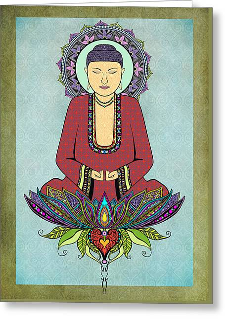 Electric Buddha Greeting Card by Tammy Wetzel