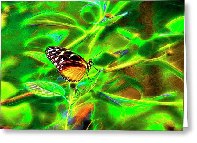 Greeting Card featuring the digital art Electric Butterfly by James Steele