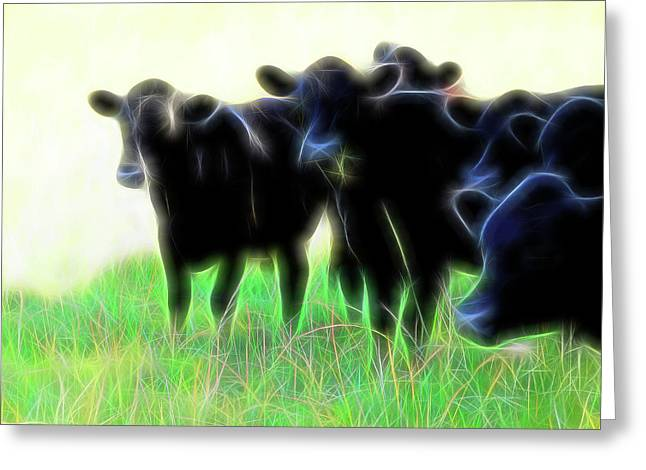 Electric Cows Greeting Card by Ann Powell