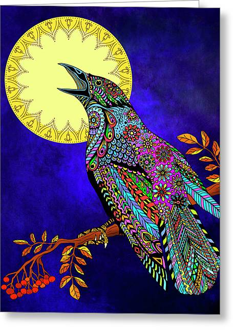 Electric Crow Greeting Card by Tammy Wetzel