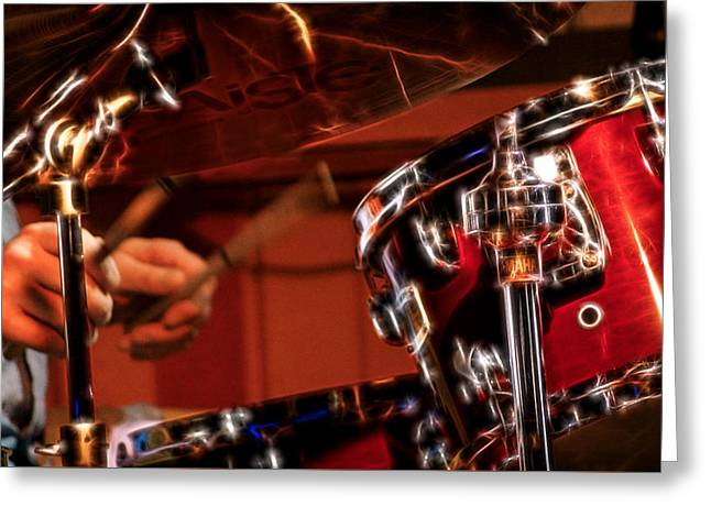 Electric Drums Greeting Card by Cameron Wood