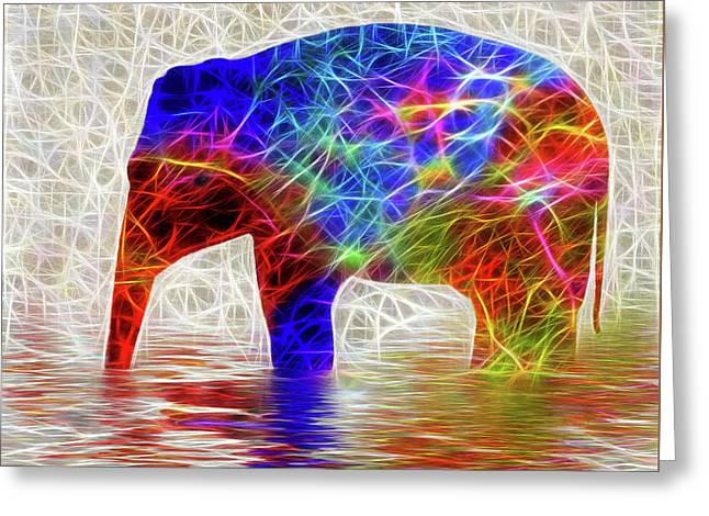 Electric Elephant By Kaye Menner Greeting Card by Kaye Menner