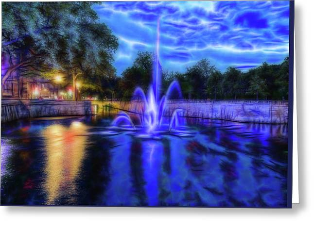 Greeting Card featuring the photograph Electric Fountain  by Scott Carruthers