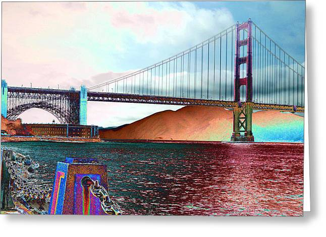 Electric Golden Gate Blue Greeting Card