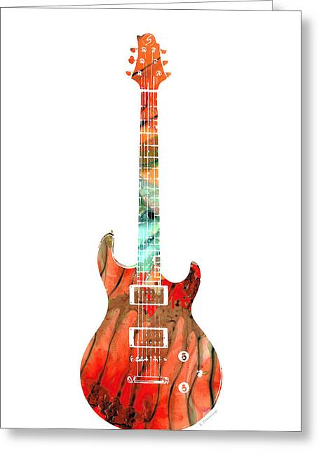 Electric Guitar 2 - Buy Colorful Abstract Musical Instrument Greeting Card