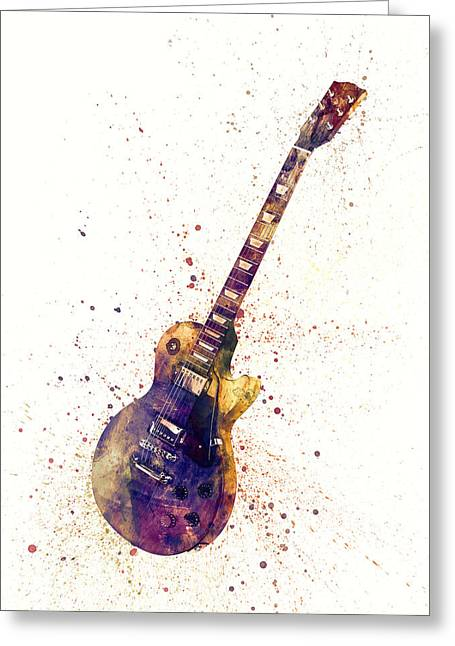Electric Guitar Abstract Watercolor Greeting Card