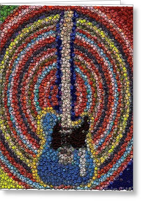 Electric Guitar Bottle Cap Mosaic Greeting Card by Paul Van Scott