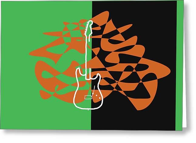 Electric Guitar In Green Greeting Card by David Bridburg