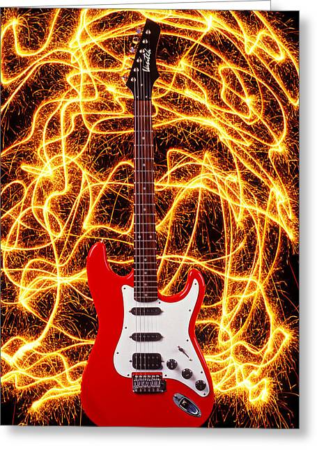 Concept Photographs Greeting Cards - Electric guitar with sparks Greeting Card by Garry Gay