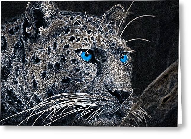 Electric Leopard Greeting Card by Ericamaxine Price