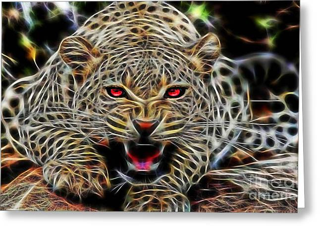 Electric Leopard Wall Art Collection Greeting Card