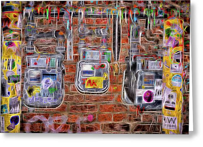 Greeting Card featuring the photograph Electric Meters by Spencer McDonald