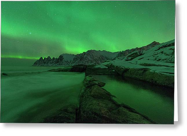 Greeting Card featuring the photograph Electric Night by Alex Lapidus
