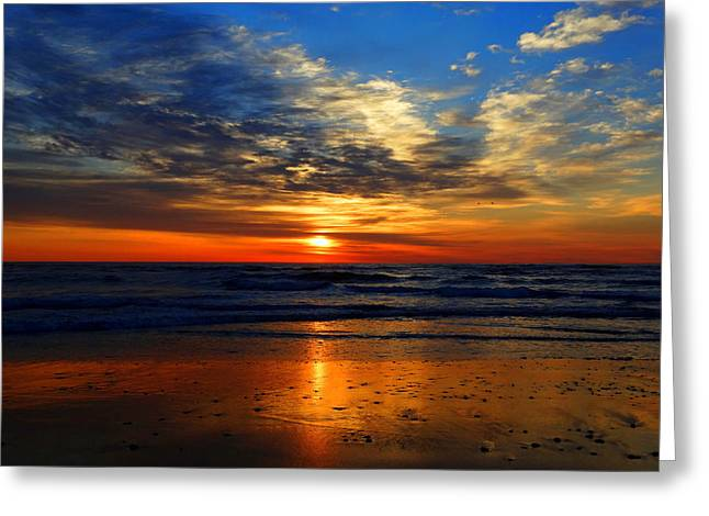 Electric Golden Ocean Sunrise Greeting Card