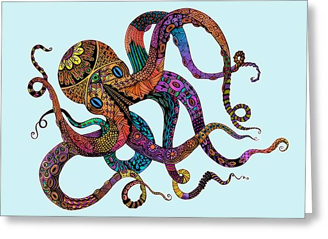 Electric Octopus - Customizable Background Greeting Card by Tammy Wetzel