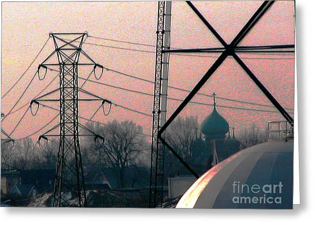 Electric Onion Domes Greeting Card by Donna Stewart