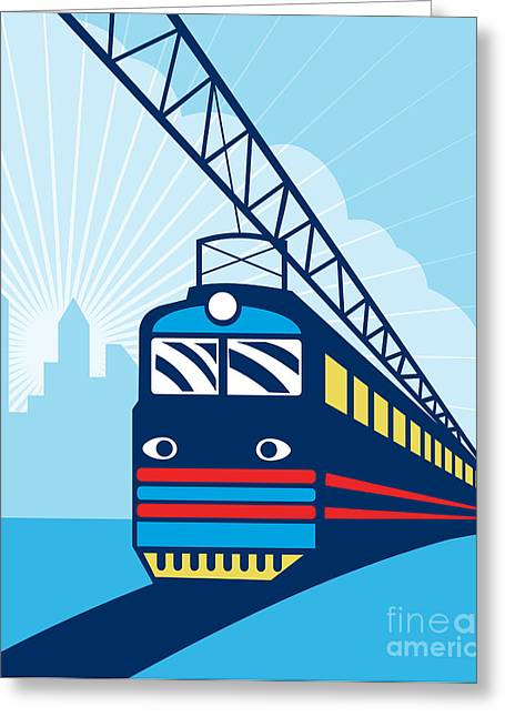 Electric Passenger Train Greeting Card by Aloysius Patrimonio