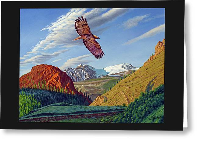 Electric Peak With Hawk Greeting Card by Paul Krapf