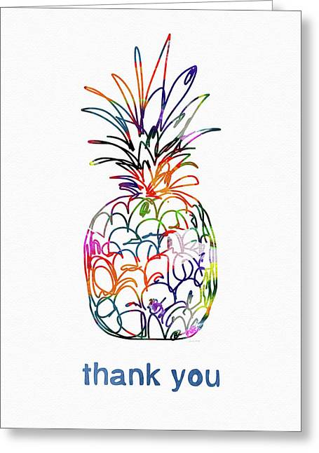 Electric Pineapple Thank You Card- Art By Linda Woods Greeting Card by Linda Woods