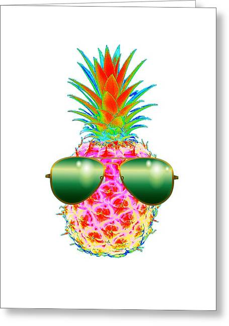 Electric Pineapple With Shades Greeting Card by Marianna Mills