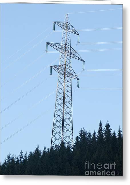 Electric Pylon On Blue Sky Greeting Card