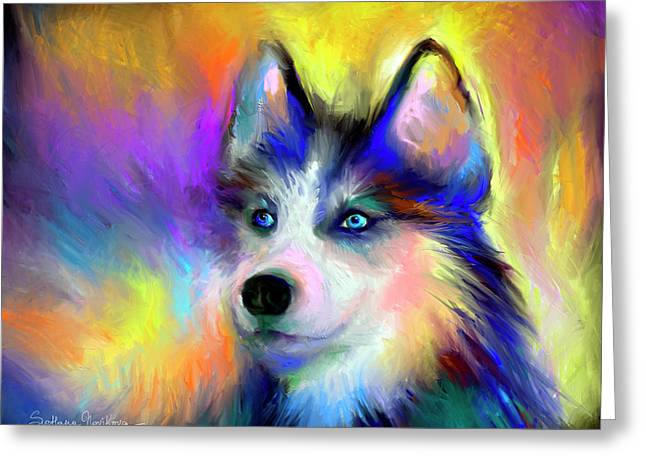 Puppies Print Greeting Cards - Electric Siberian Husky dog painting Greeting Card by Svetlana Novikova