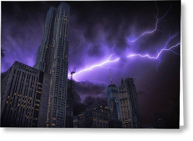 Electric Storm Greeting Card by Martin Newman
