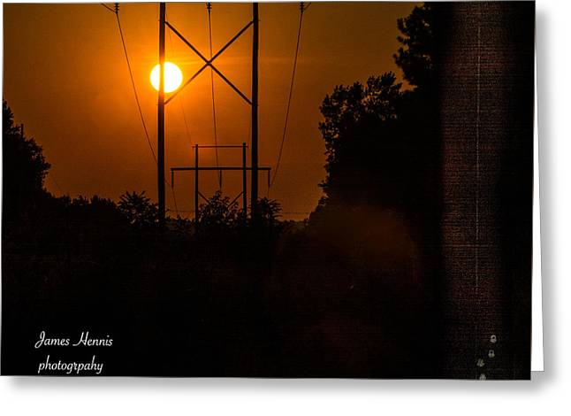 Orange Tapestries - Textiles Greeting Cards - Electric Sunset Greeting Card by James Hennis