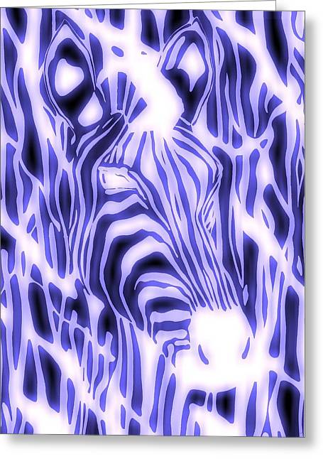 Electric Zebra Greeting Card by Alan Hogan