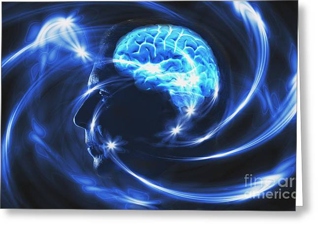 Electrical Brain Greeting Card by George Mattei