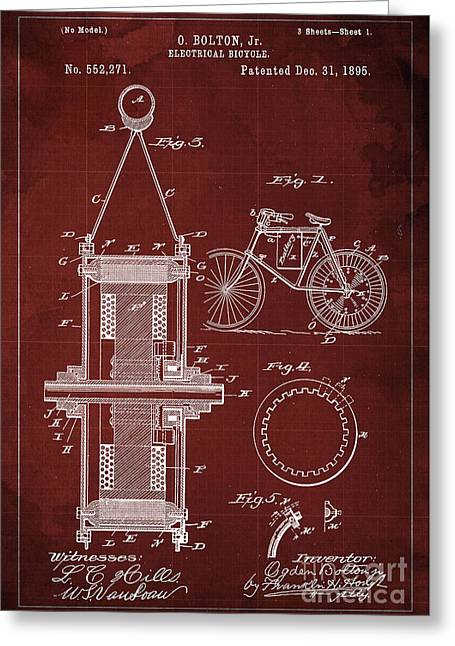 Electrical Bycicle Patent 1895 Greeting Card