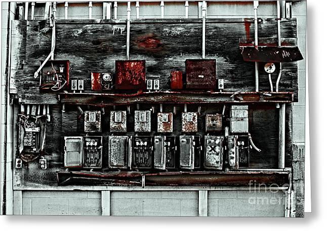 Electrical Fuse Box Greeting Card by Jim Corwin