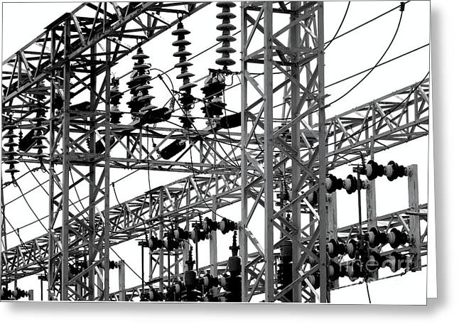 Greeting Card featuring the photograph Electrical Substation With Large Insulators by Yali Shi