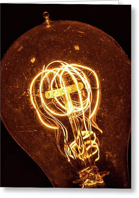 Greeting Card featuring the photograph Electricity Through Tungsten by T Brian Jones
