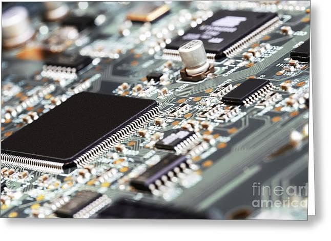 Electronic Circuit Board Close Up. Greeting Card by Raimundas Gvildys