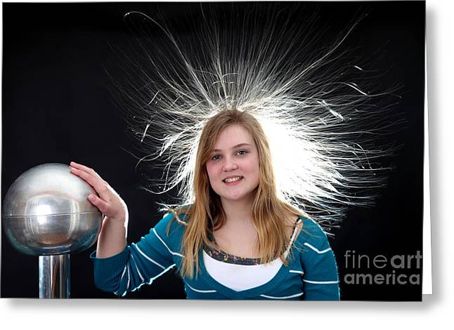 Electrostatic Generator, 3 Of 8 Greeting Card by Ted Kinsman